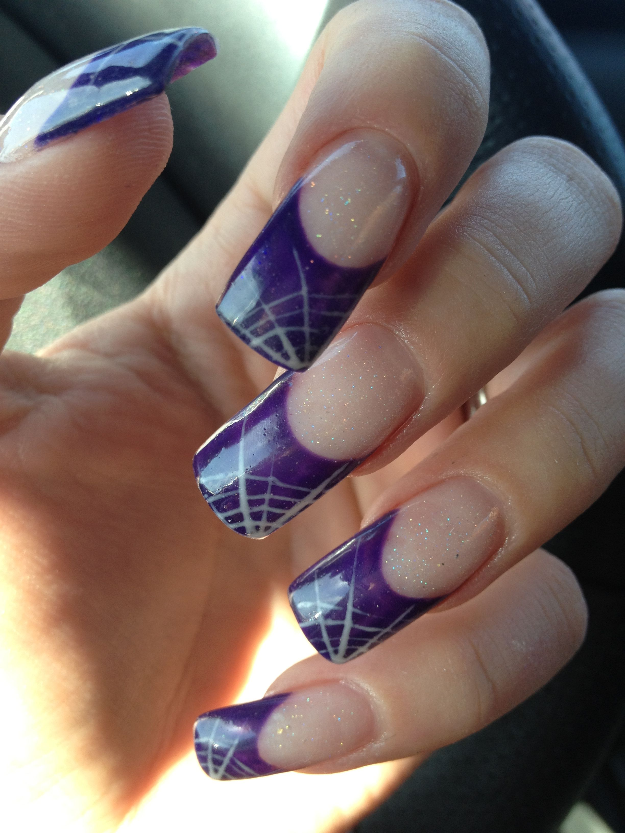 gel #nails #purlpe #spider #web #design | My nails II | Pinterest