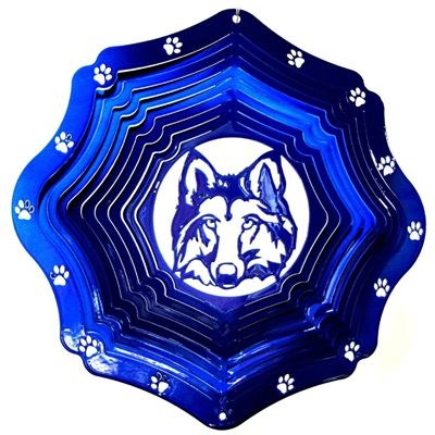 "12"" Wolf Head - Blue Starlight Wind Spinner. #wolf #windspinner #blue"
