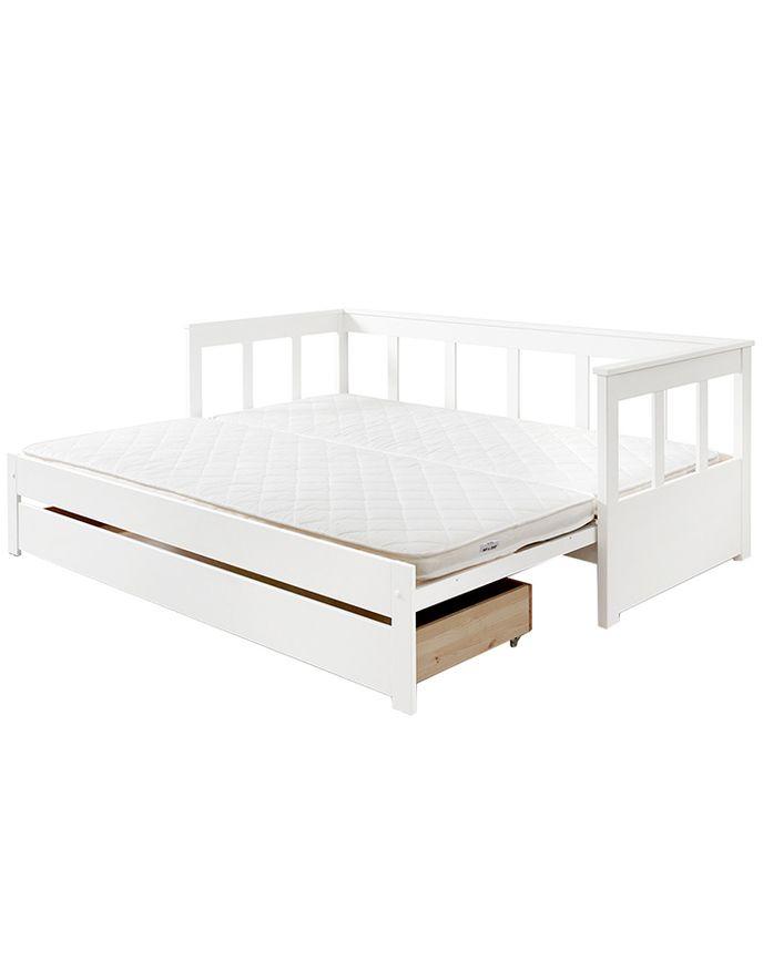 Funktionsbett Pino 90x200 Mit Auszug 2 Teilig Aus Kiefer In Weiss Funktionsbett Bett Bett 90x200