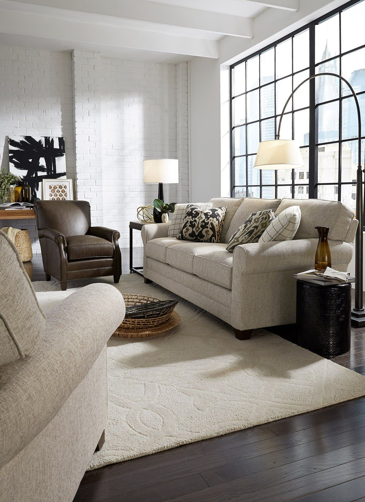 Furniture Shopping Tips: Loft Living Room With Painted White Brick Walls,  Furniture In Warm