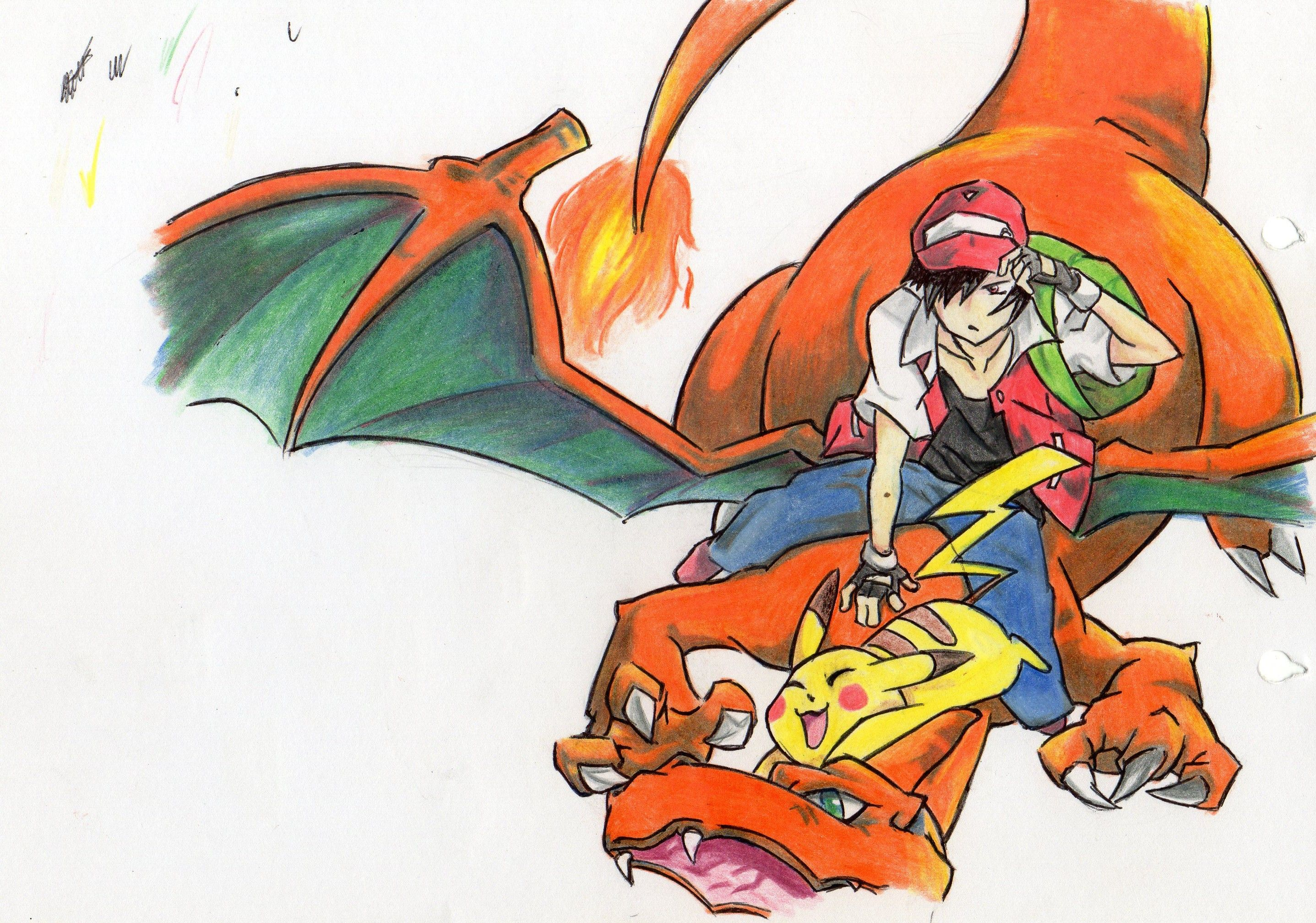 #pokemon #red #trainer #charizard #pikachu #fly #fire # ...