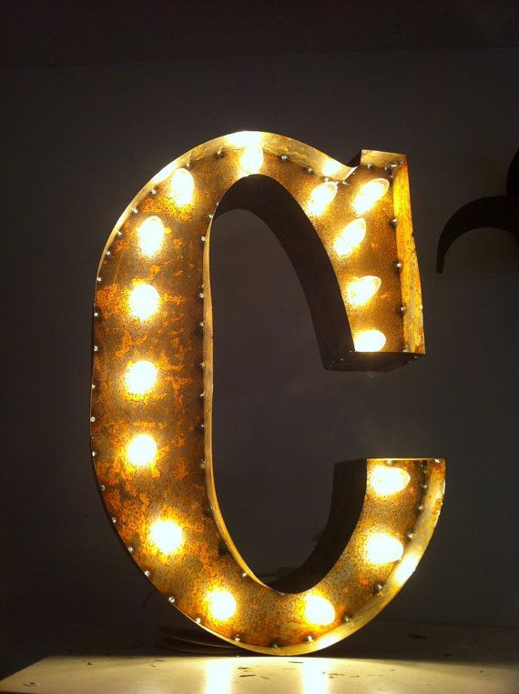 Letter light c rusty 24quot vintage marquee lights the for B marquee letter