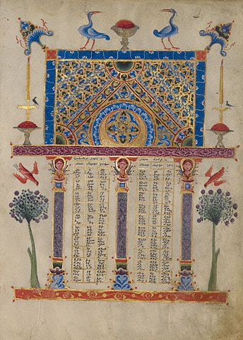 Canon Table Page T'oros Roslin Armenian, Hromklay, 1256 Tempera colors, gold paint, and ink on parchment 10 7/16 x 7 1/2 in. MS. 59, FOL. 2