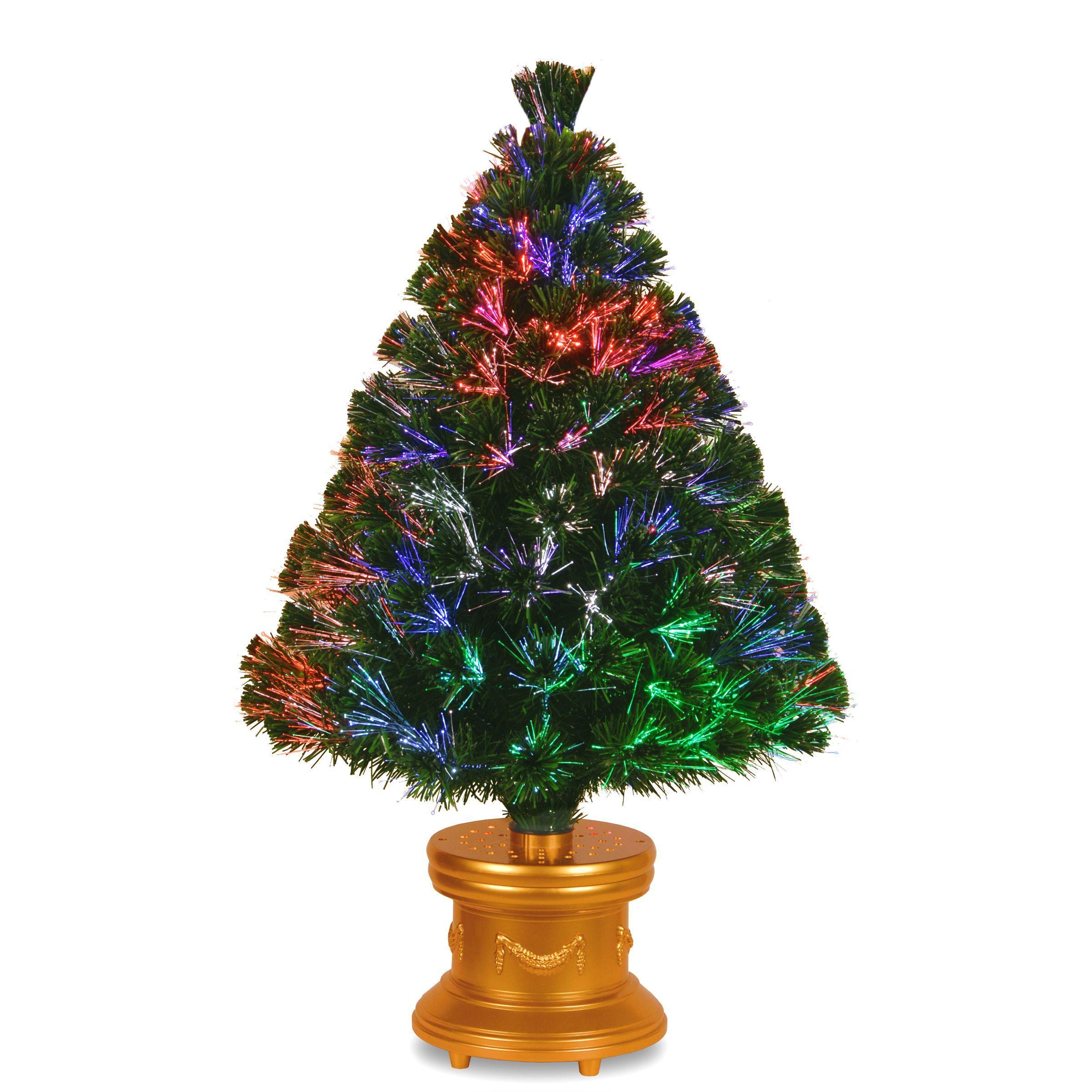 Flying santa fibre optic christmas decoration - Fiber Optic Evergreen Gold Column Base Multi Color Wheel 36 Inch Firework Tree By National Tree Company