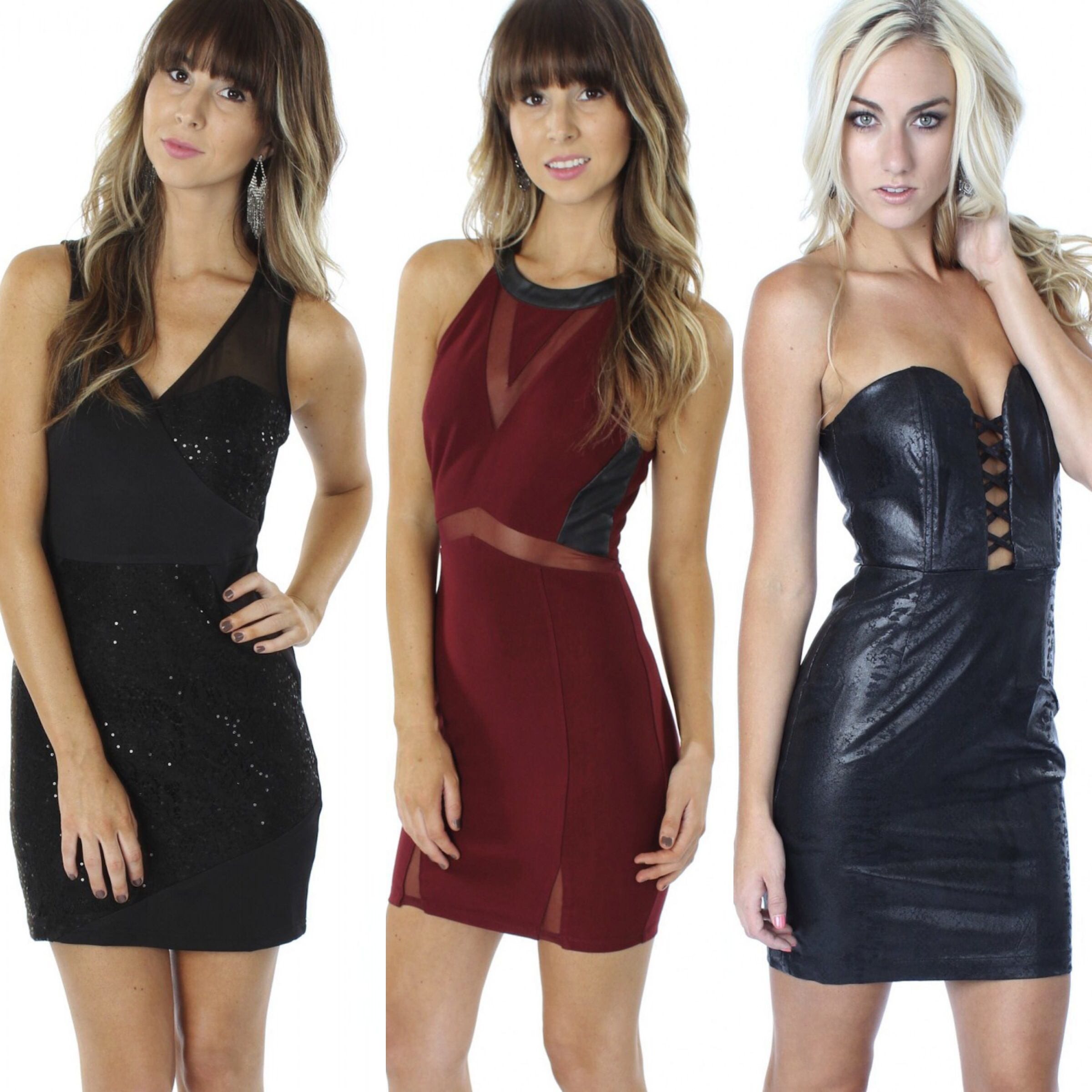 Sooo many fabulous NEW dresses just hit the site and NOW in stores!!! All only $34.99-$39.99...shop them now at www.sophieandtrey.com with #freeshipping or in store at #sophieandtrey! #newarrivals #dresses #glam #homecoming #musthave #leather #lace