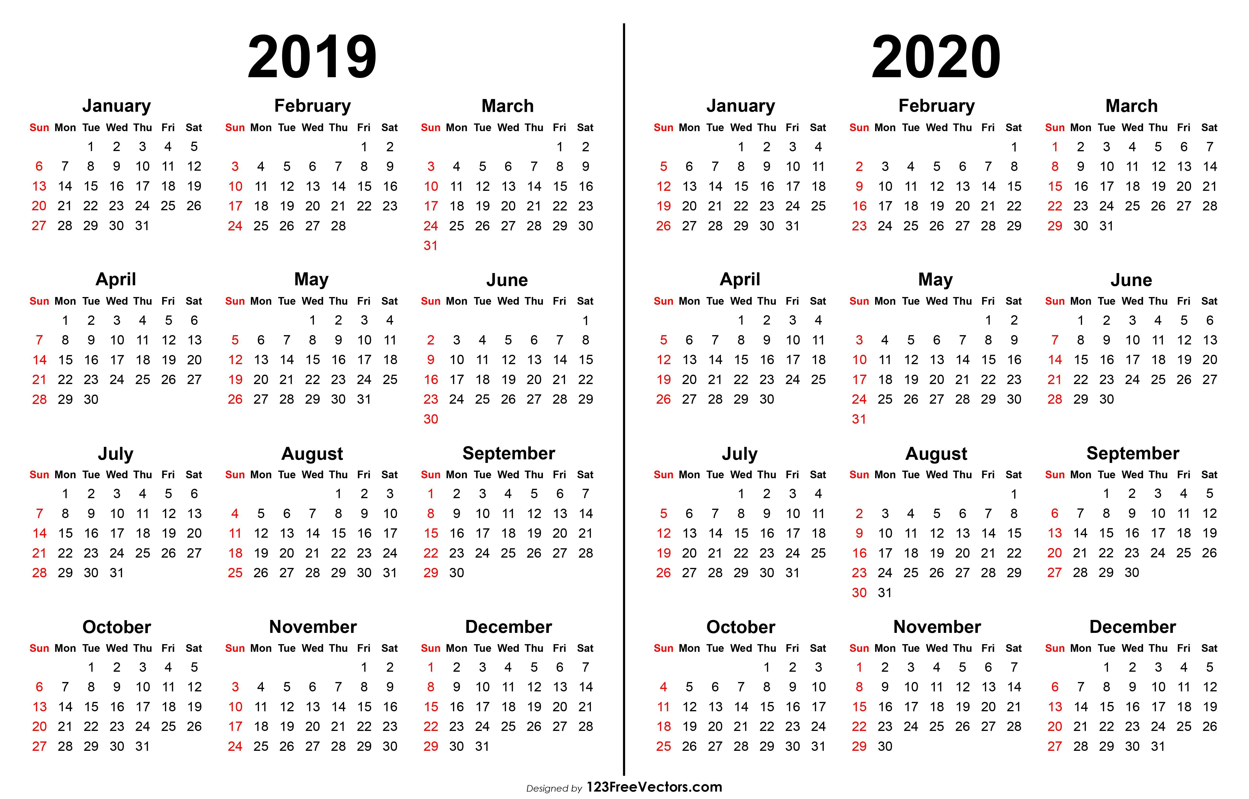 2019 2020 Calendar Calendar Printables Printable Calendar