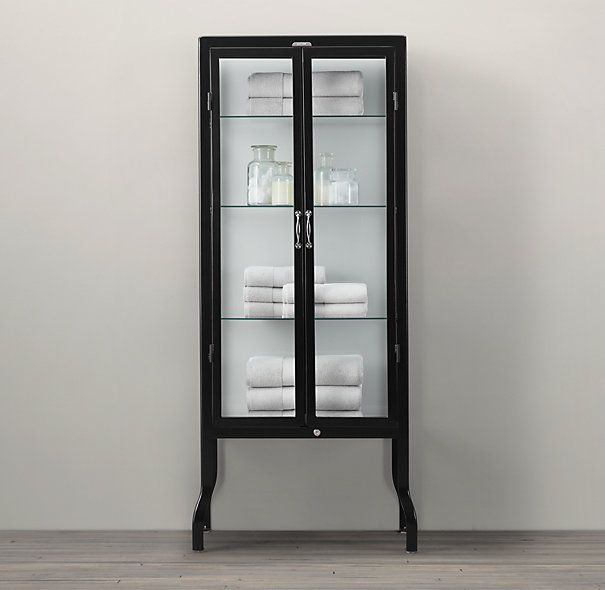 Pharmacy Bath Tall Cabinet Black