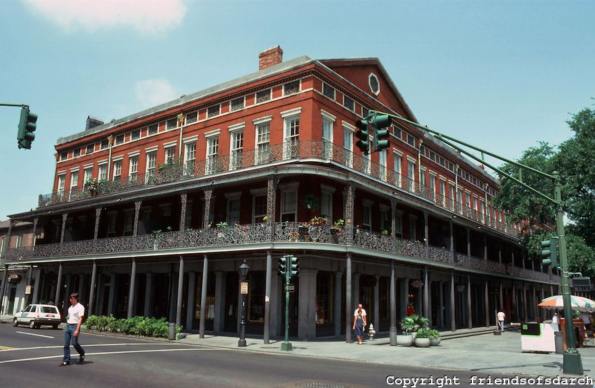 New Orleans Pontalba Buildings Architect James Gallier Sr Red Brick Block Long 4 Story Building With S Below And Apartments Above