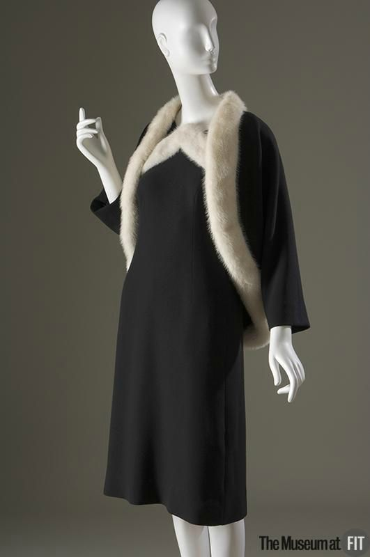 Cristobal Balenciaga (French, founded 1949), Evening set, 1967. Black wool crepe and white mink. Gift of Mrs. Parker J. Collier. 2007.22.7. The Museum at FIT 2012 © The Museum at FIT