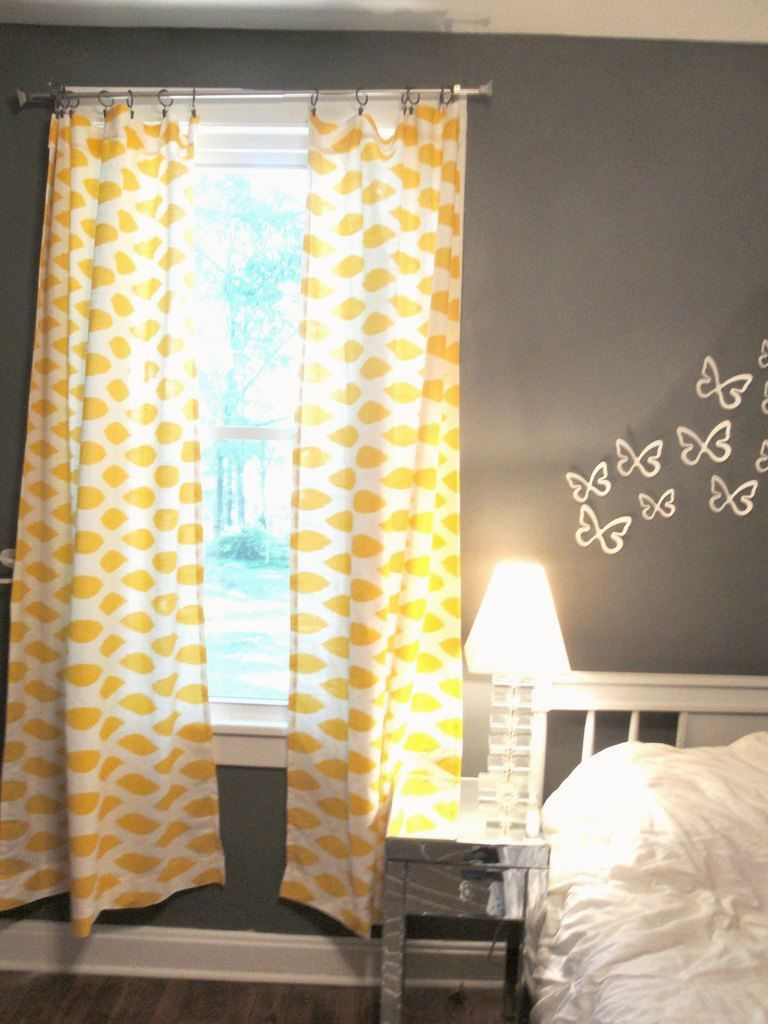 Good Yellow And White Damask Curtains On Gray Walls.