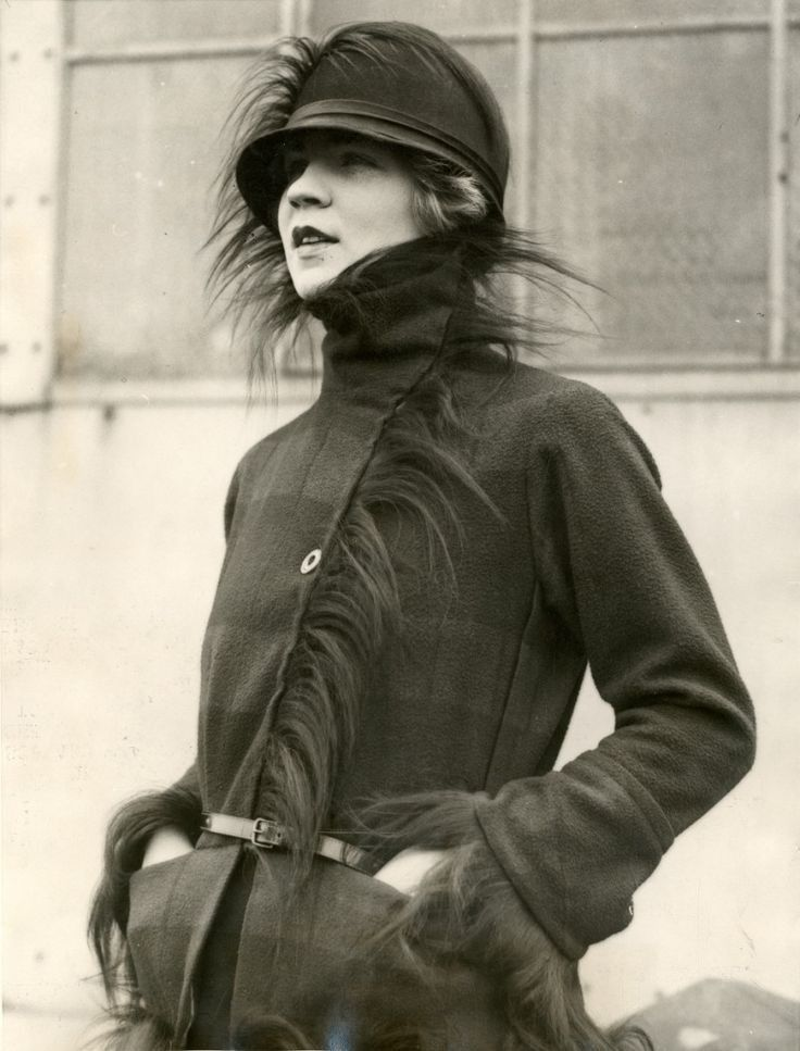 Wool checked jacket & cloche trimmed in monkey, 1925...