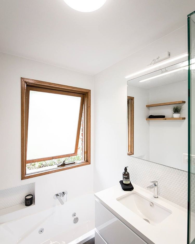 Who says small bathrooms can\'t have a bath!? An ensuite-sized vanity ...