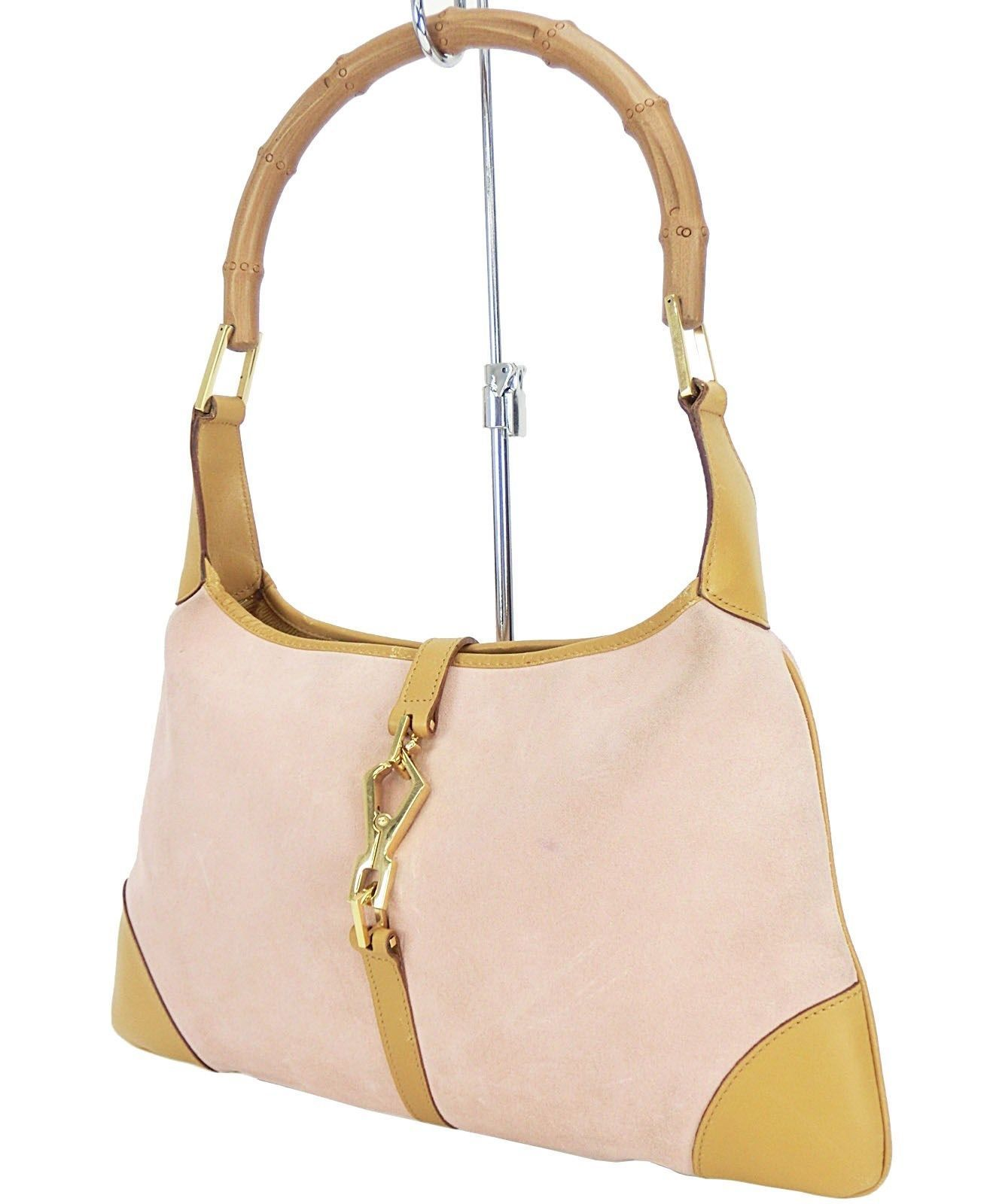 c5c8b64fe18 Auth Gucci Jackie O Pink and Beige Suede and Bamboo Handle Hand Bag Purse  11579