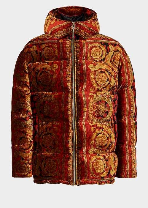 d5b0a07d67 Versace Velvet Barocco Print Puffer Jacket | Products | Puffer ...