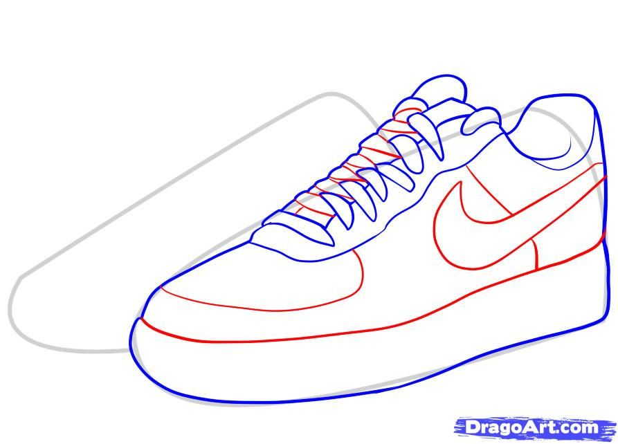 How To Draw Nike How To Draw Air Force Ones Step By Step Fashion Pop Culture Free Online Drawing Tutorial Added By Shoes Drawing Air Force Ones Sneakers