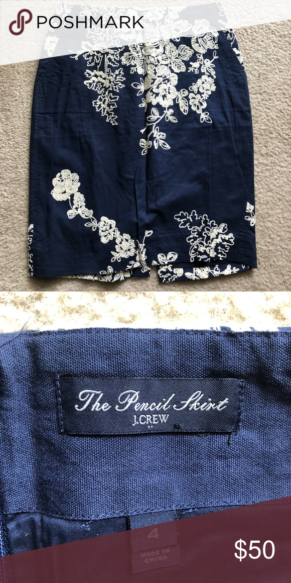 afa8ab853 **NEW** J.Crew factory Pencil Skirt - size 4 Brand new, never worn J.Crew  Factory Pencil Skirt. Size 4. Navy with off white embroidered floral  pattern J. ...