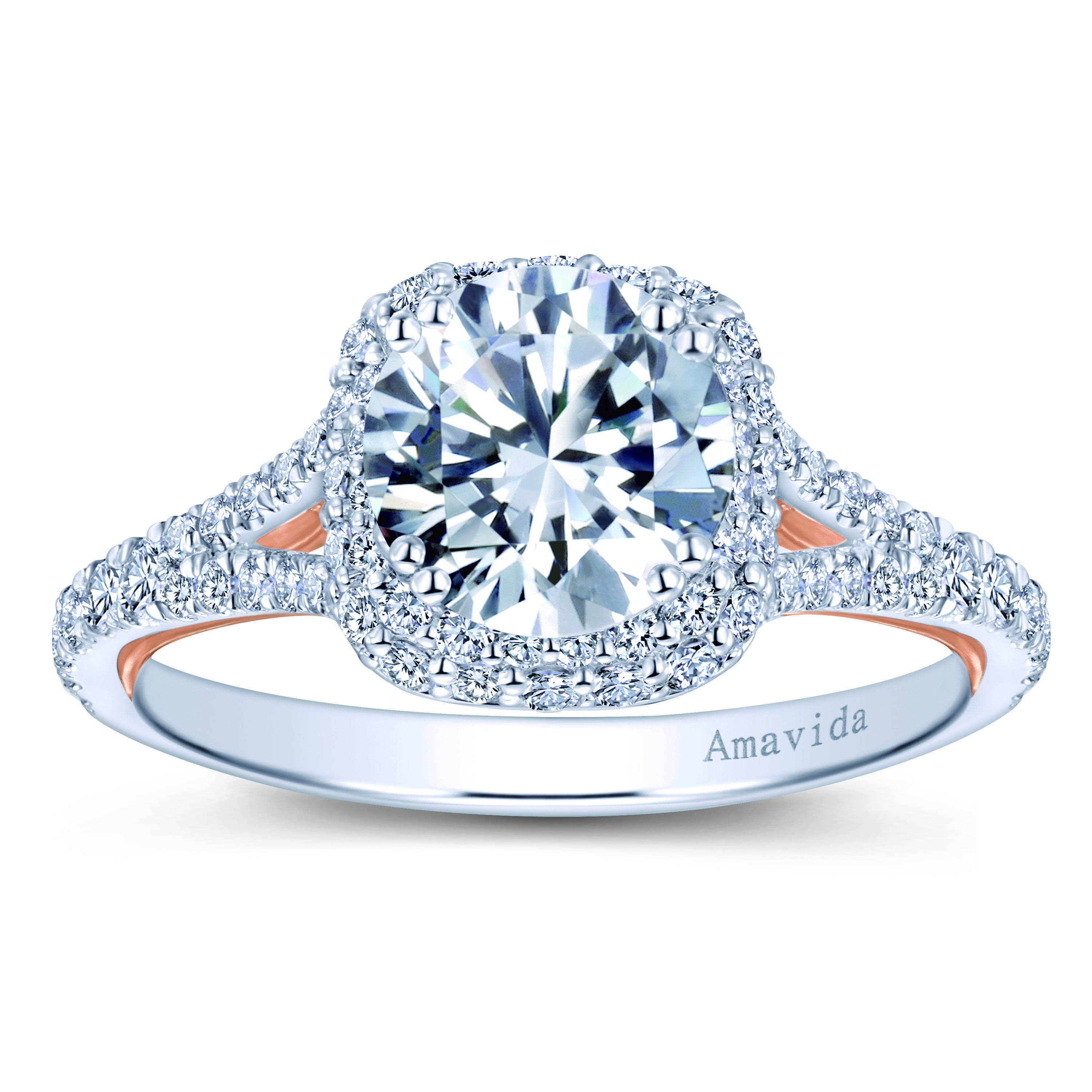 18k White Rose Gold Round Double Halo Diamond Engagement Ring A