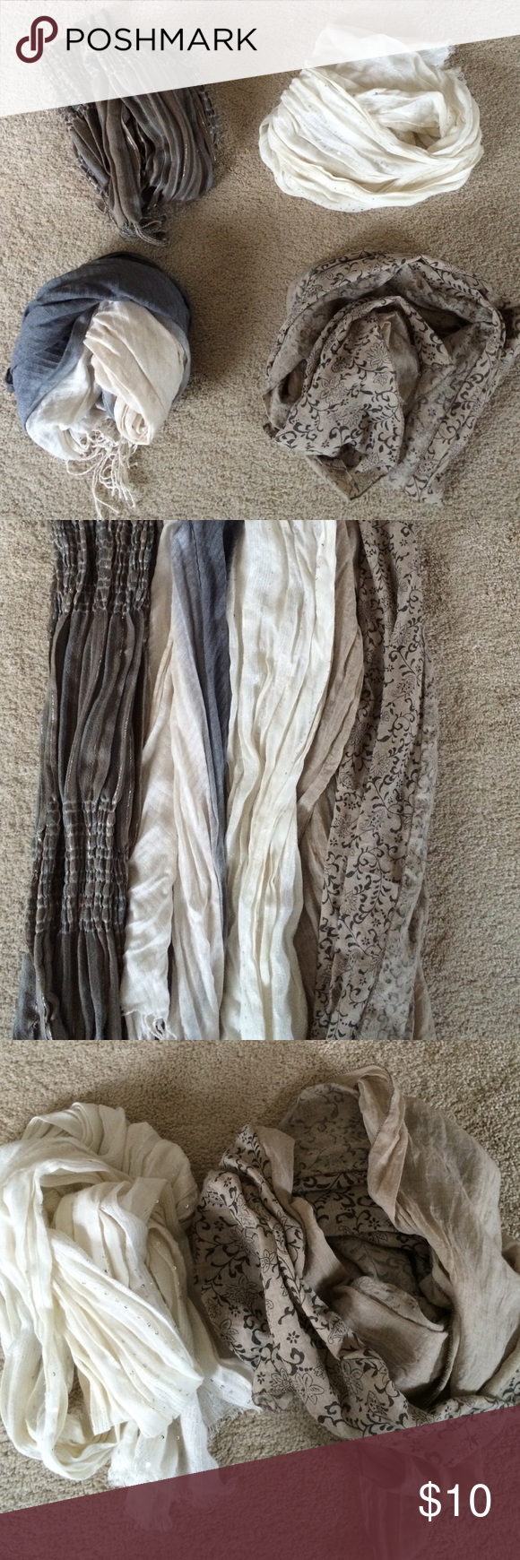 4 scarf bundle 4 scarves-1 is tan with darker brown/black pattern, 1 is cream with silver thread and sequence, 1 goes from dark gray to a lighter gray to cream, and the last one is tan, brown, blue and silver.  Great addition to a scarf collection!  I just have to many, so some have to go! Accessories Scarves & Wraps