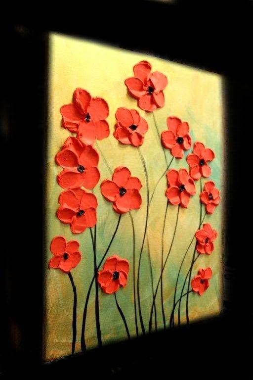 VENTA Original abstracto Contemporáneo Galería espátula floral