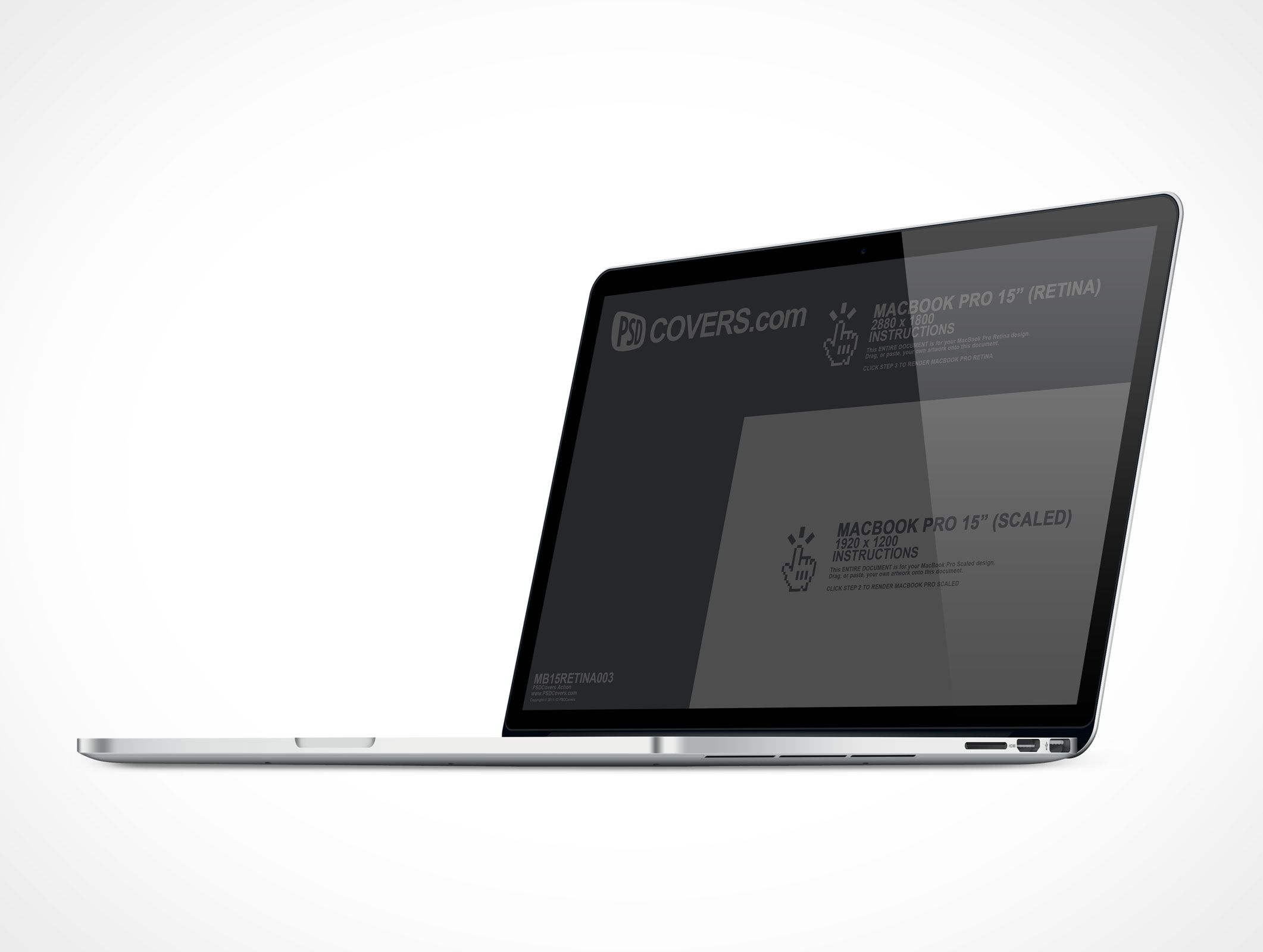 MB15RETINA003 is the MacBook Pro with Retina display resolution of 2880 x 1800 @ 300DPI. Similar to MB15RETINA002, this Cover Action displays the MacBook Pro Retina from the right side. Supports rendering your 1920 x 1200 designs as well. Great for your application mockups. #displayresolution