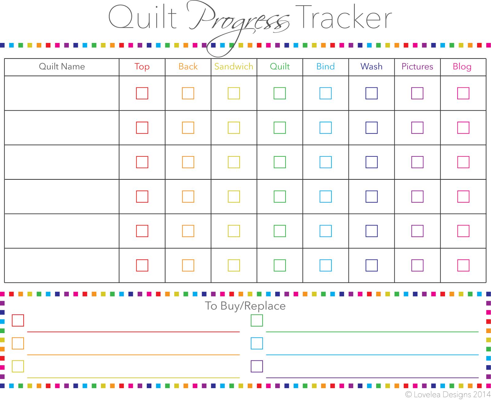 Quilt Progress Tracker Free Printable