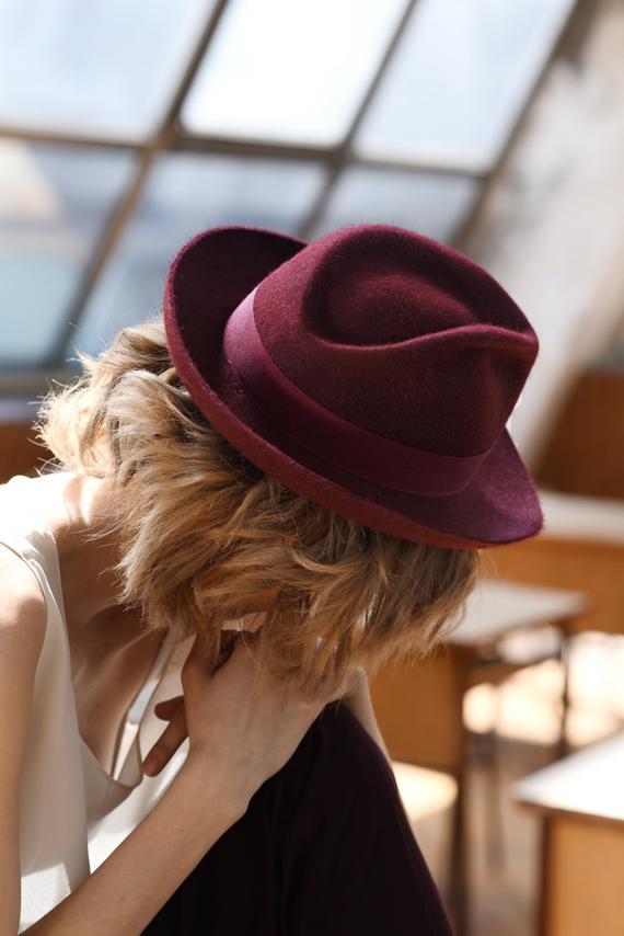 66e8f9eb9 Women / Men dark red felt fedora small brim hat / Millinery- spring ...