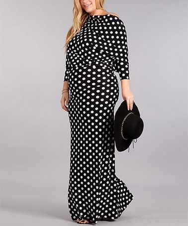 Another great find on #zulily! Black & White Dot Dolman Maxi Dress - Plus Too #zulilyfinds