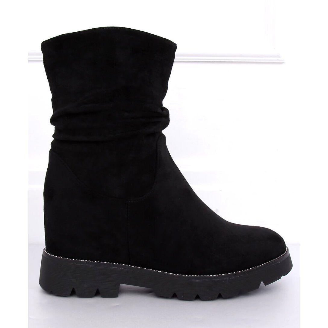 Botki Na Ukrytym Koturnie Czarne 7978 Ka Black Zapatos Zapatillas Botas