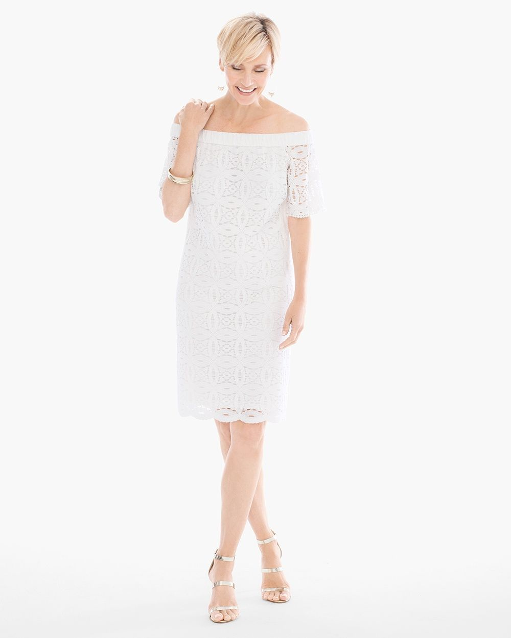 51b6a743db86 Chico s Women s Lace Off-the-Shoulder Dress