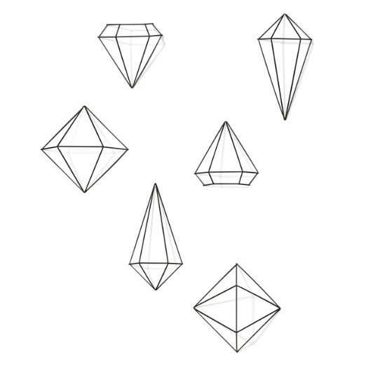 Umbra Prisma Decorative Accents, Set of 3 geometric shapes (6 wall decor pieces), Black 427