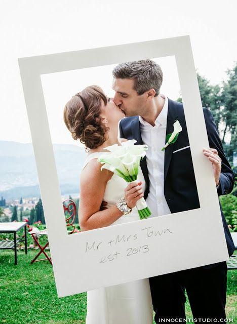 giant polaroid frame at wedding photo booth - destination wedding ...
