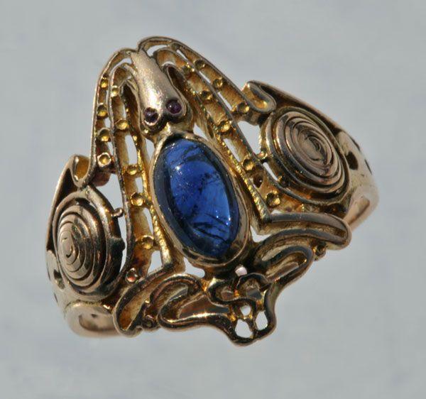 KARL ROTHMÜLLER 1860-1930 Superb Octopus Ring  Art Noveau  Gold  Sapphire Ruby  German c 1904
