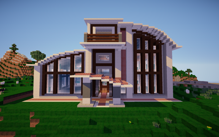 Modern minecraft house schematic gallery for Modern house schematic