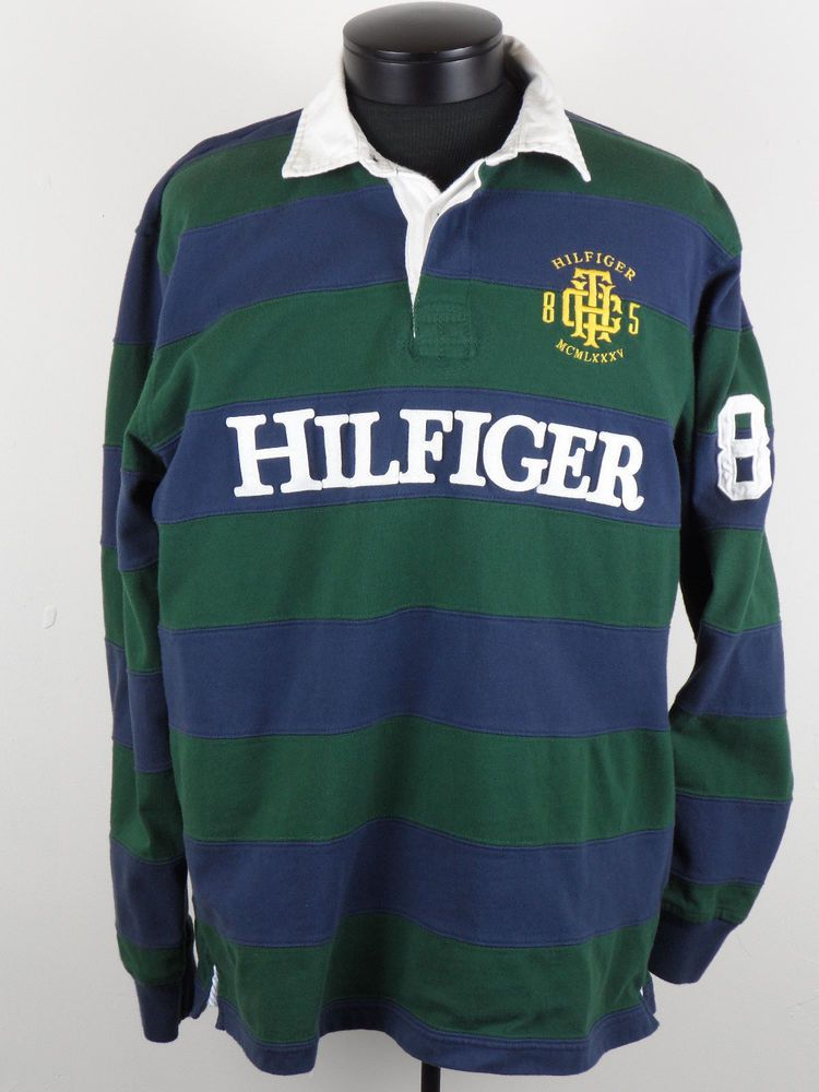 fdae69ed Vintage Tommy Hilfiger Rugby Shirt Mens Large L Spellout Stripes Long  Sleeve #TommyHilfiger #PoloRugby