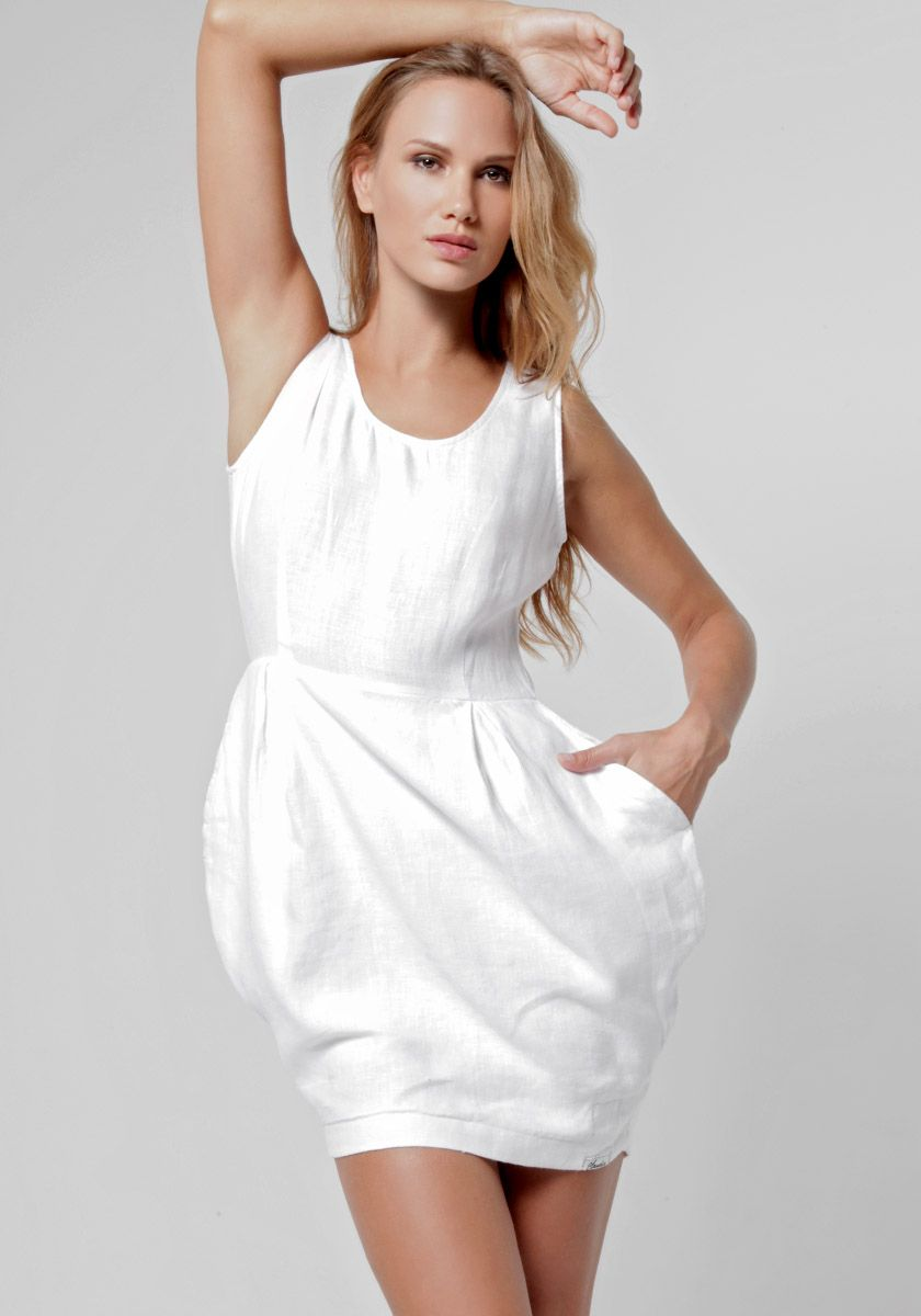 100 Linen Bubbled Mini Dress With Pockets In White Shop Claudio Basic Mini Dress Dresses Fitted Dress