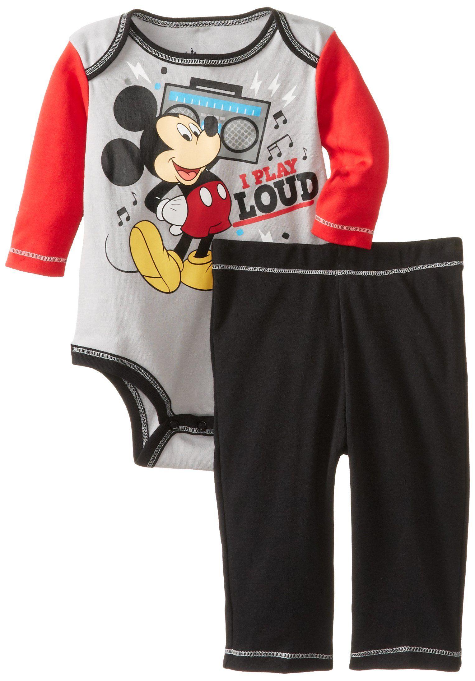 e5e309b8f Amazon.com: Disney Baby Baby-Boys Newborn Disney's Mickey Mouse Bodysuit  and Pant Set: Clothing $8.99