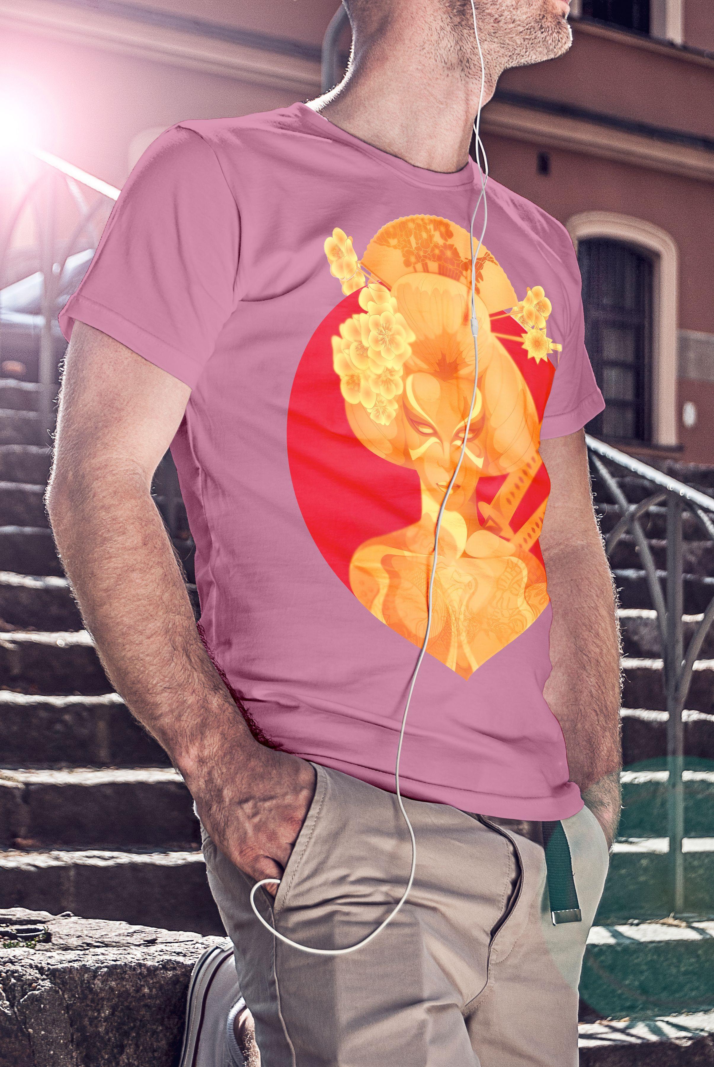 2e91e3d8 Anvil 980 Lightweight Fashion Short Sleeve T-Shirt with TearAway Label.  Geisha - Design. Charity pink