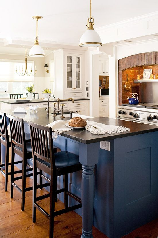 Our Most Beautiful Kitchens   Traditional Home®....brick Surround And  Contrasting Blue Island!