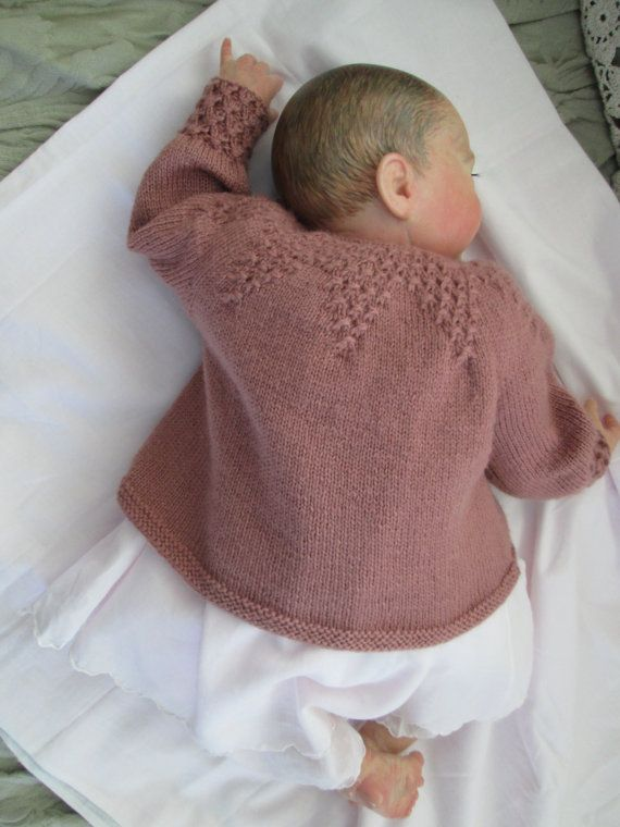 Hand Knit Baby Sweater Smocked Pure Wool 3M Ready to Ship | Botón ...