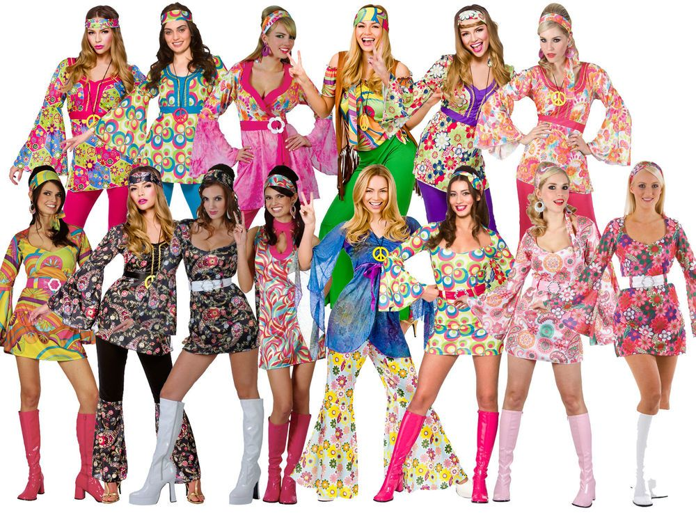 d9c86bacdb72 Womens Ladies Hippie Hippy Fancy Dress Costume Outfit 60s 70s Retro Groovy  Flare  WickedCostumes  CompleteOutfit