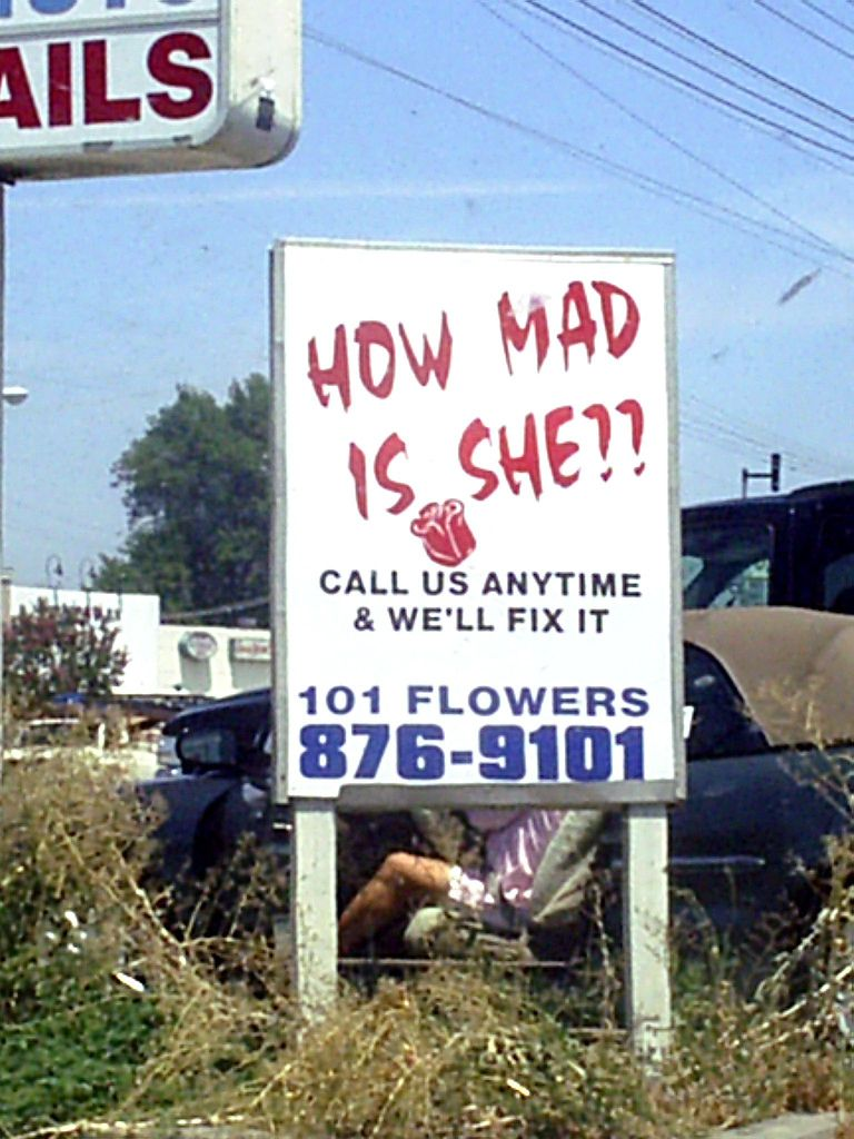 The only honest florist in America. Funny signs, Signs