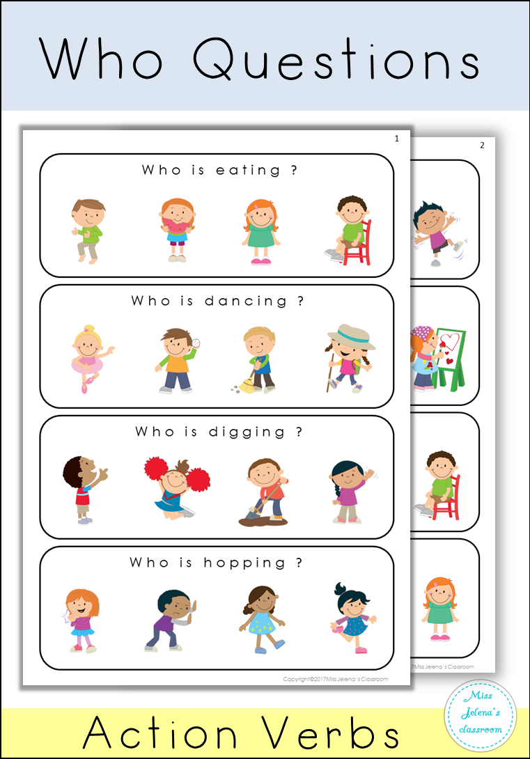 Who Questions Actionverbs Preschool Specialeducation Esl Kindergart Speech Therapy Activities Autism Speech Therapy Games Speech Therapy Activities Preschool [ 1090 x 761 Pixel ]