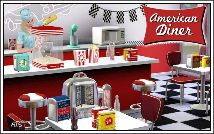 American Diner clutter set by Sandy - Sims 3 Downloads CC Caboodle  Check more at http://customcontentcaboodle.com/american-diner-clutter-set-by-sandy/