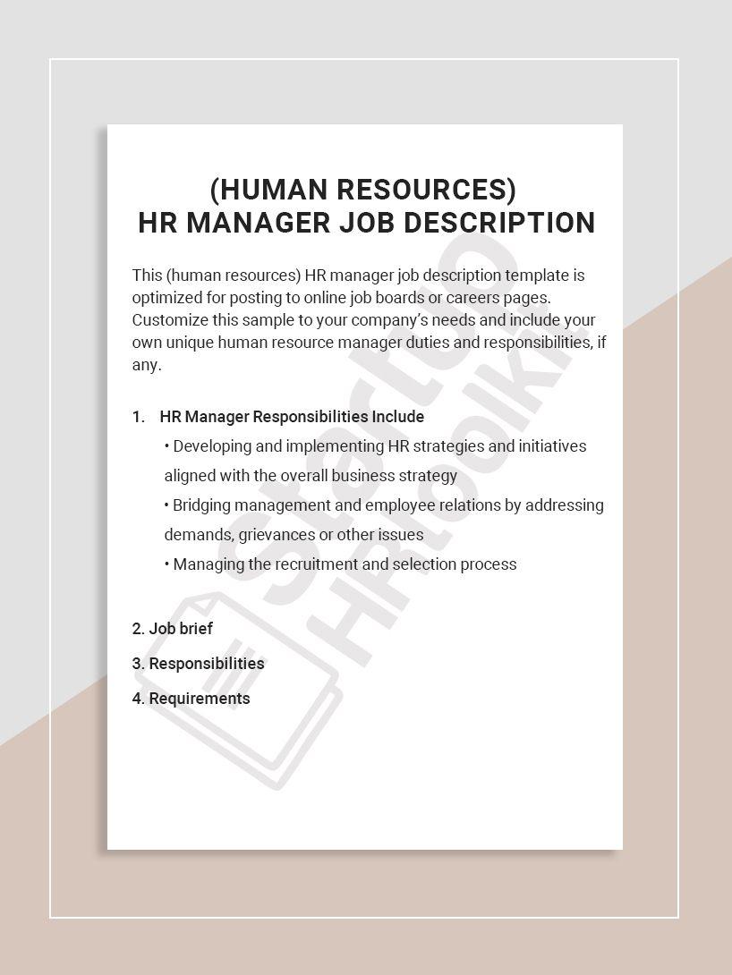 This (human resources) HR manager job description template
