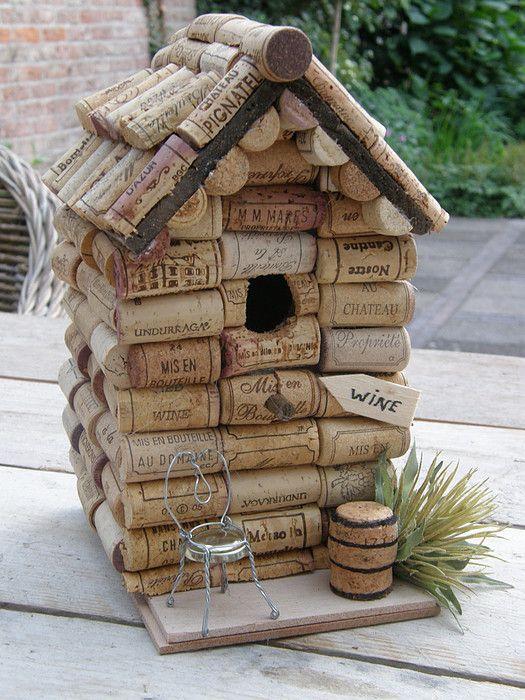 made from wine corks super duper cute birdhouse. Black Bedroom Furniture Sets. Home Design Ideas