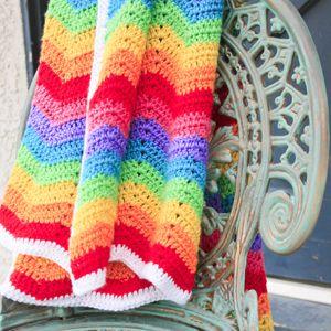 Beautifully Colorful Rainbow Ripple Blanket - Free Pattern ...