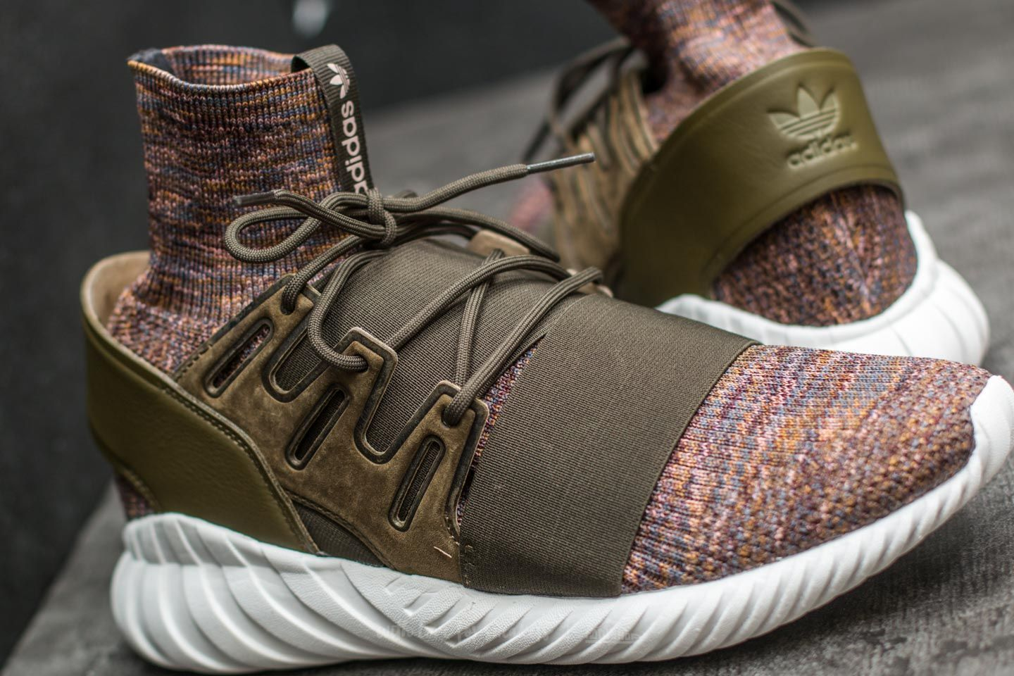 the best attitude 2e3b9 a7915 adidas Tubular Doom Primeknit Trace Olive/ Mystery Brown/ Crystal White at  a great price