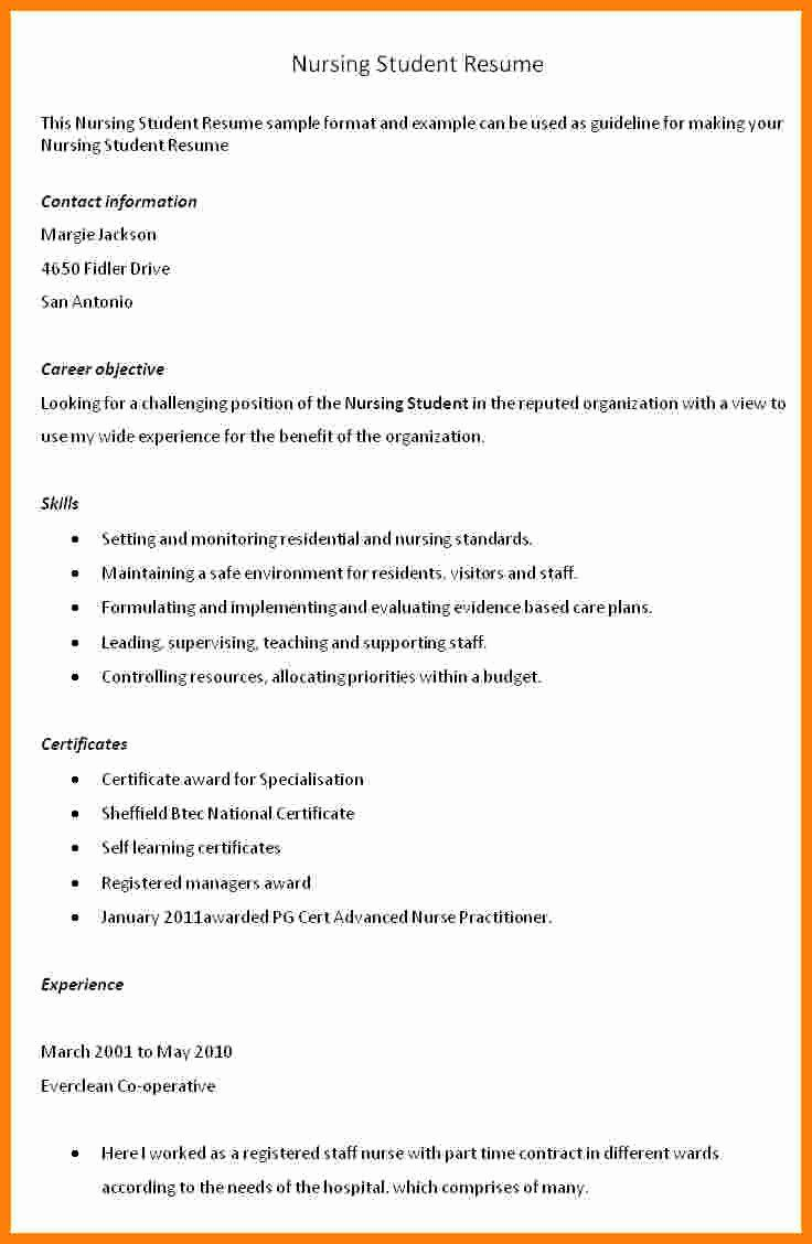 25 Student Nurse Resume Template in 2020 (With images