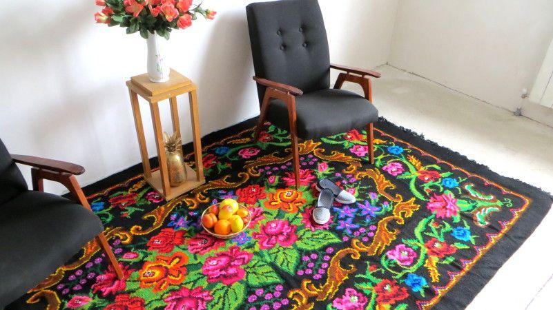 Perzisch Tapijt Goedkoop : Tapis kilim moldave rose carpet floral rugs boho kelim rose rug