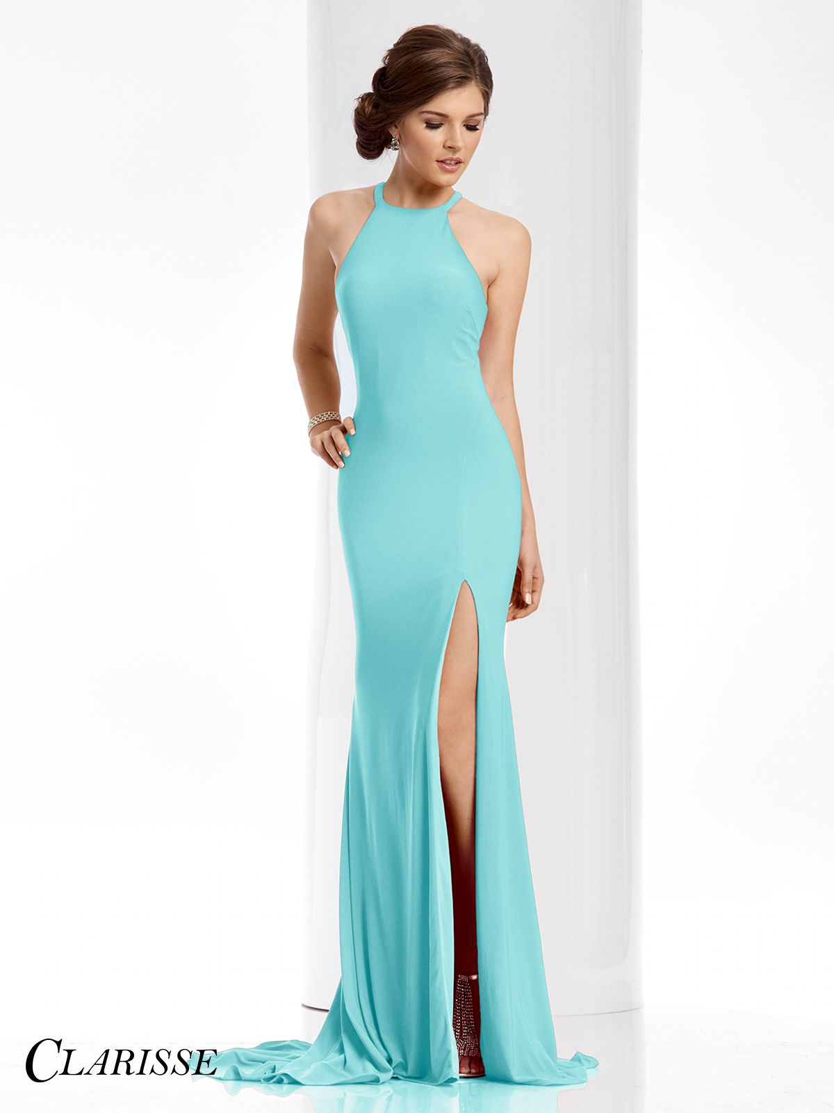 Clarisse prom dress a simple fitted dress featuring a halter